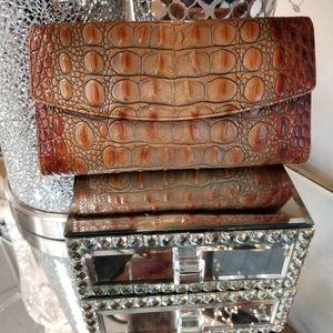 BRAHMIN Brown Leather Melbourne Raised Croc Wallet